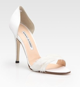 Manolo Blanik D'Orsay Satin and Feather Pumps