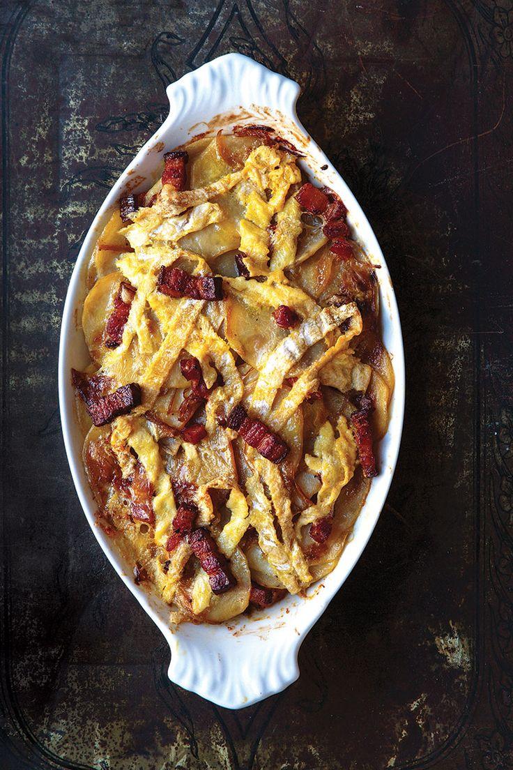 The rustic French casserole Tartiflette—made with potatoes, lardons ...