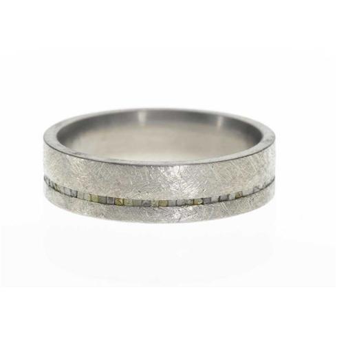 This unique mens wedding band features titanium metal with raw diamond ...