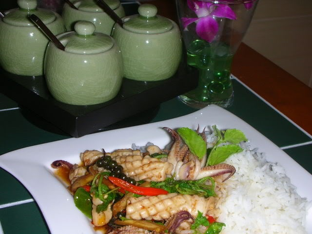 Spicy Squid with Thai basil. | Food : ) | Pinterest