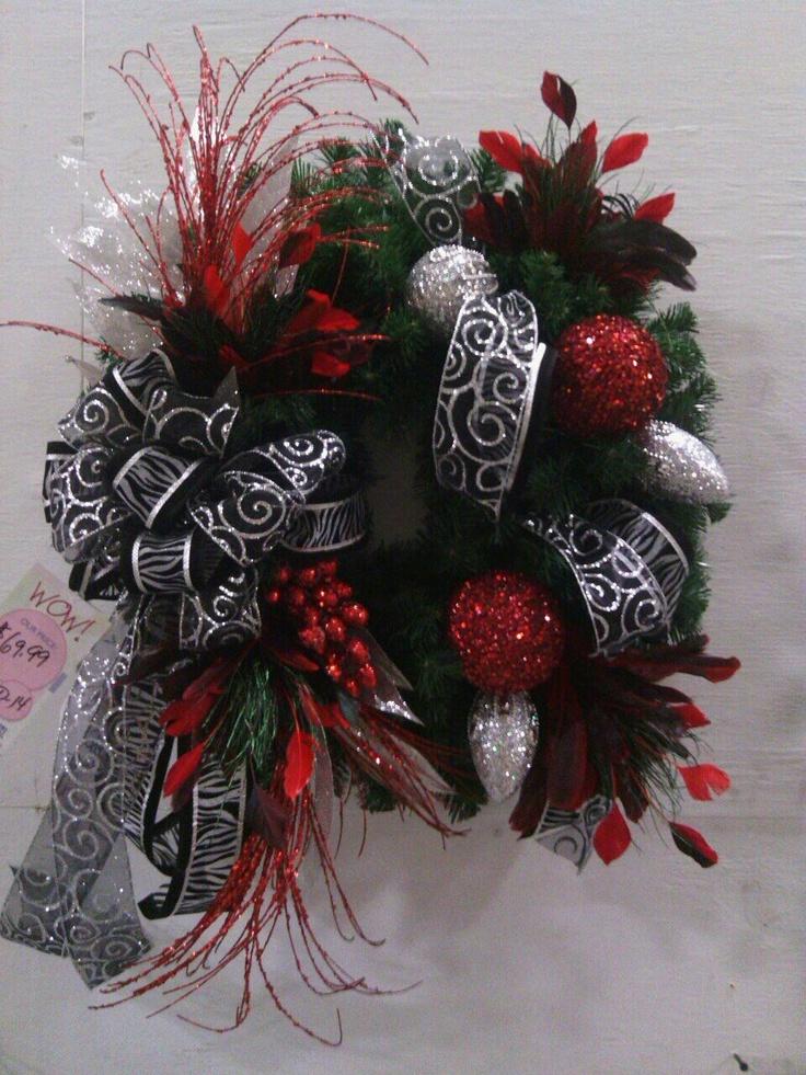 Silver red zebra wreath debra hale pinterest