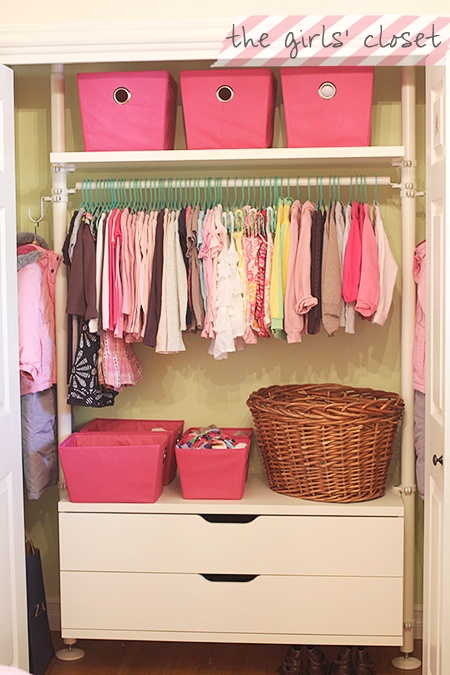 Don't have a closet?  Try something like this.  {I don't close my kids' closet doors anyway!  I just love seeing their stuff all the time}