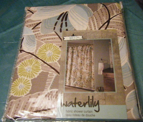 West st. awesome modern floral shower curtain brown aqua green ivory ...