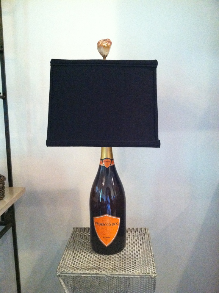 Wine bottle made into a lamp recycle reduce renew for Lamps made out of wine bottles