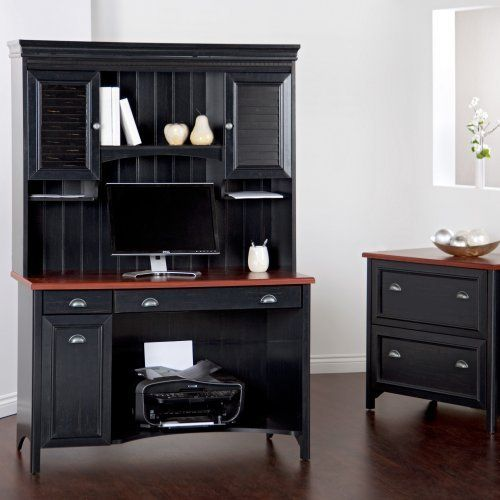 Bush Stanford Computer Desk with Optional Hutch and Filing Cabinet