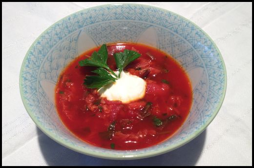 Vegetarian borscht (closest recipe I could find to my Mom's that I ...