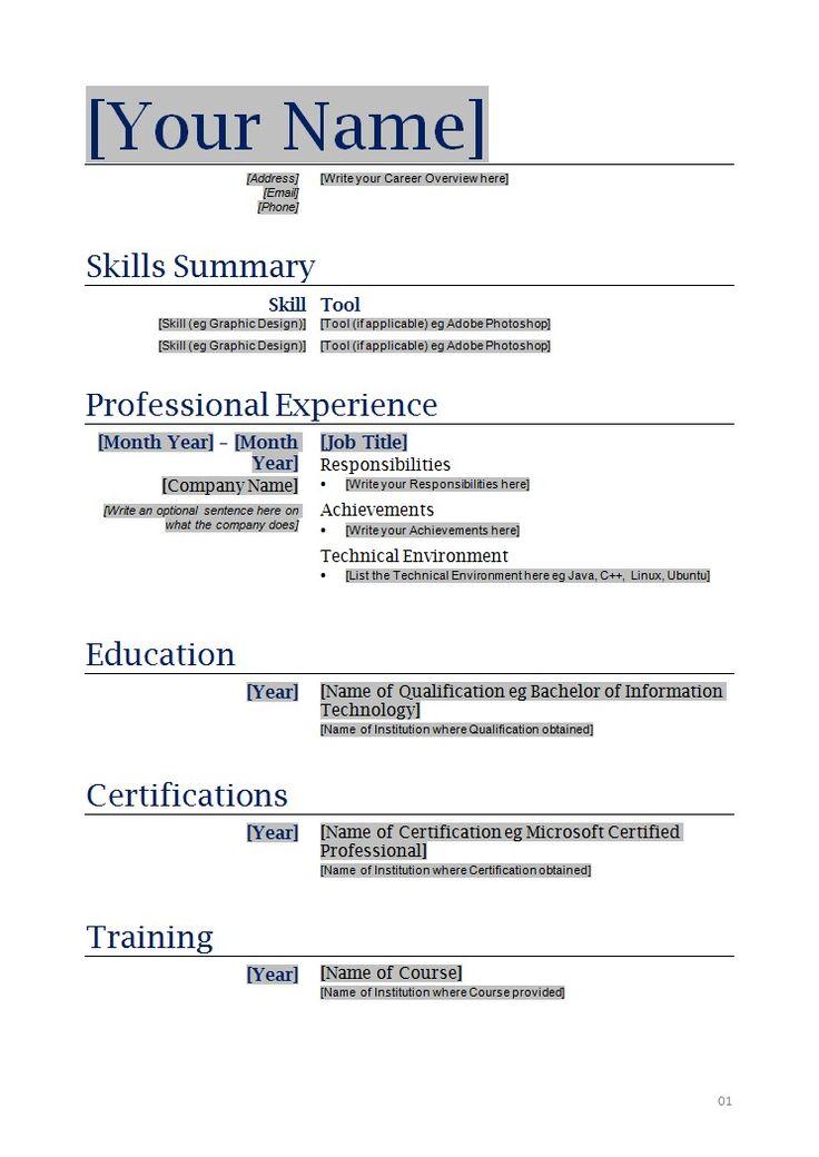 resume layout templates free
