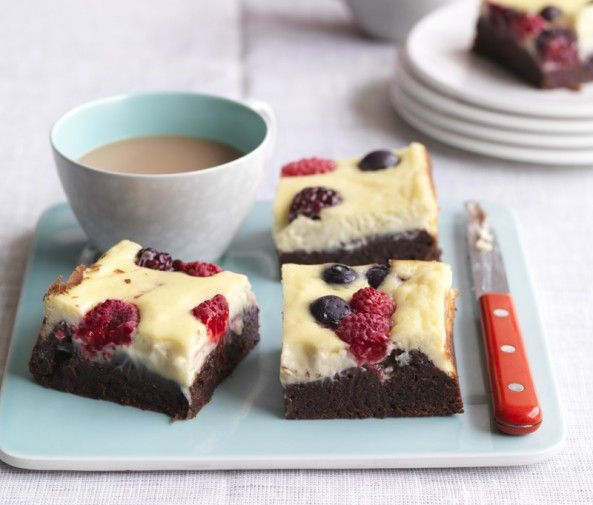 Gotta make me some of these! YUM! #desserts #berries #brownies #recipes