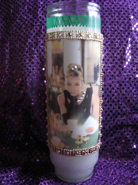 I have an Audrey Hepburn candle similar to this one that was given to me as a gift.  I think that she is truly an idol and I keep it on my nightstand for inspiration.
