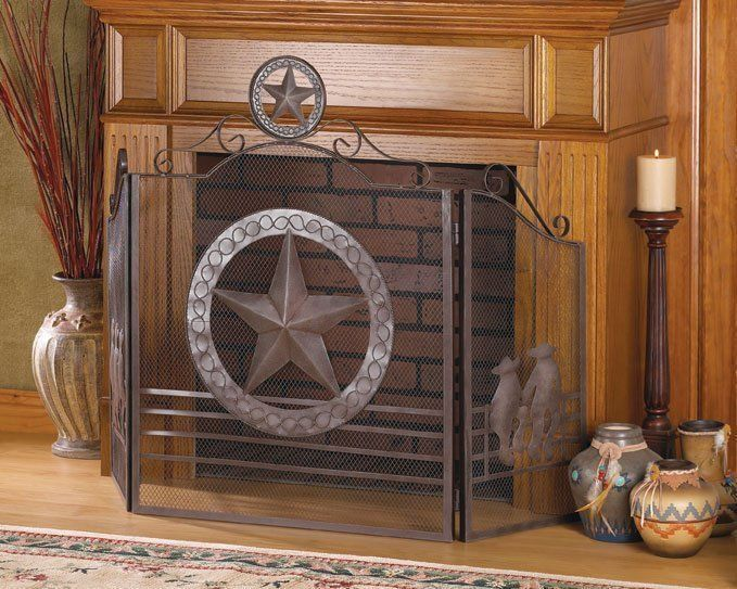 Rustic Western Cowboy Texas Lone Star Metal Fireplace Screen Weathere
