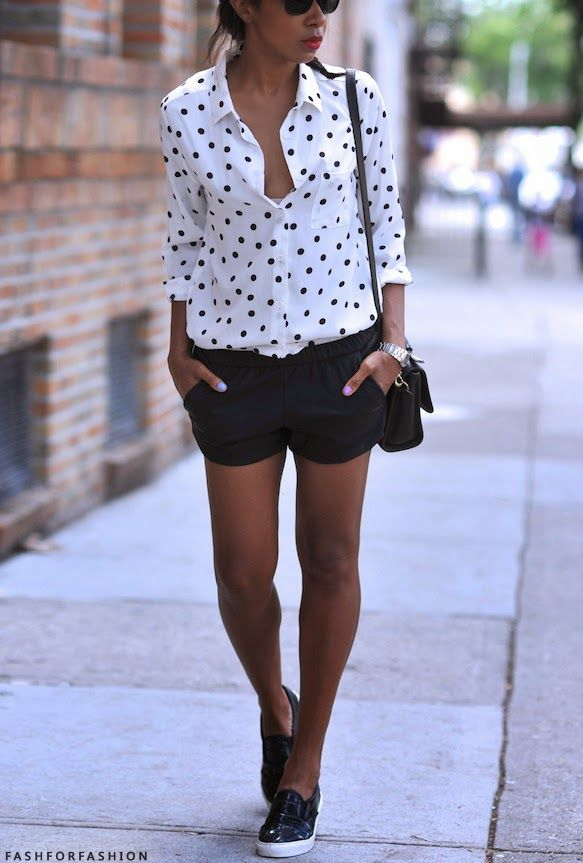 polka dot shirt + black shorts + slip on sneakers