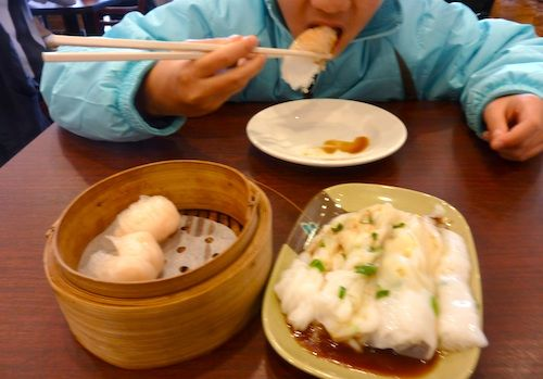 Photo of shrimp dumplings and scallion noodle rolls and Great Taste ...