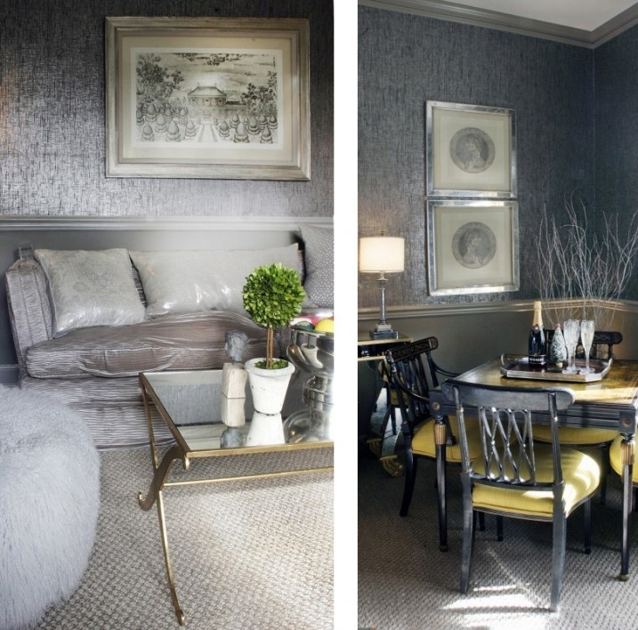 silver-wallpaper-living-room | Home Ideas | Pinterest