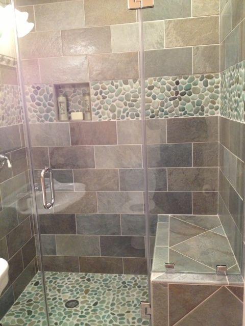 Beautiful Sliced Java Tan Pebble Tile Shower Floor  Pebble Tile Shop