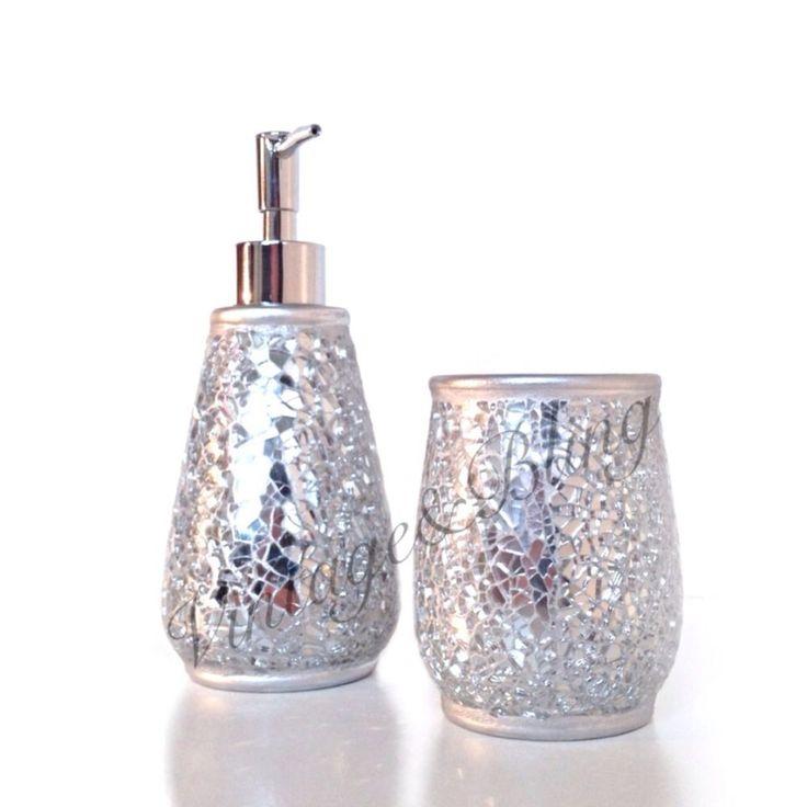 Paradigm trends india bath accessories art deco for Crackle glass bathroom set