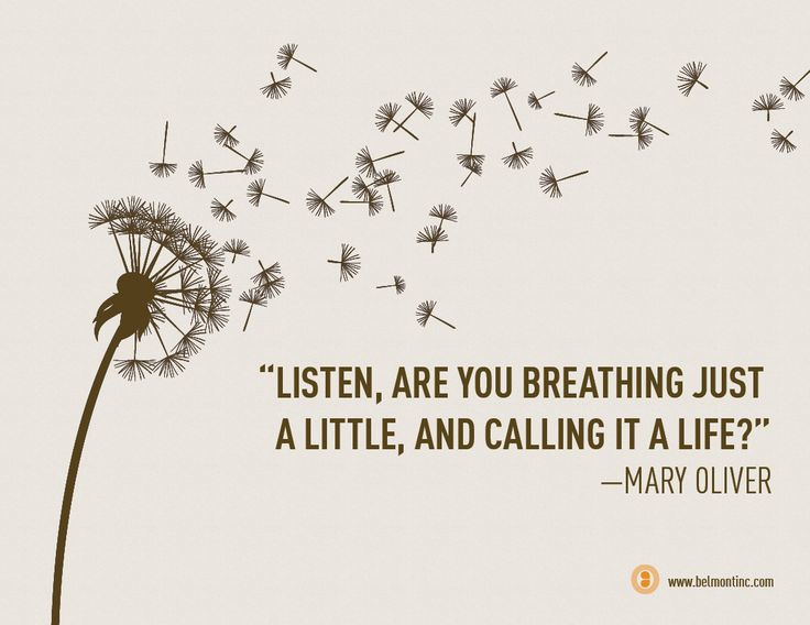 """Listen, are you breathing just a little, and calling it a life?"" –Mary Oliver"
