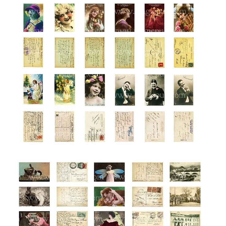Miniature Dollhouse Postcards 1/12 Scale Digital Collage