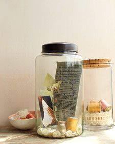 memories in a jar - I've seen these done for specific vacations/trips, but I like the idea of collecting different (related?) items from the past into a jar. Putting them in a jar would let me display them on shelves - and display them, period.