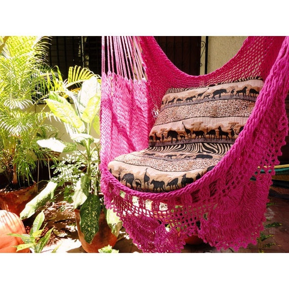 Fuchsia Sitting Hammock with Fringe Hanging Chair  ($44)