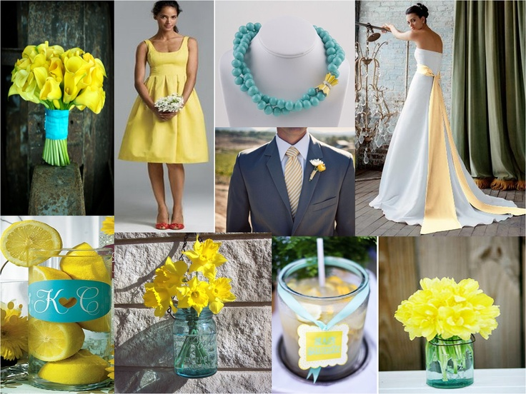 aqua and yellow wedding colors... Not sure of your colors but thought some of these were cool Search