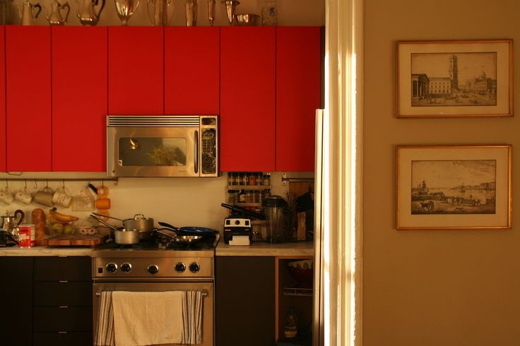 PANYL Red Hot and PANYL Slate on 5 year old IKEA Nexus cabinet doors