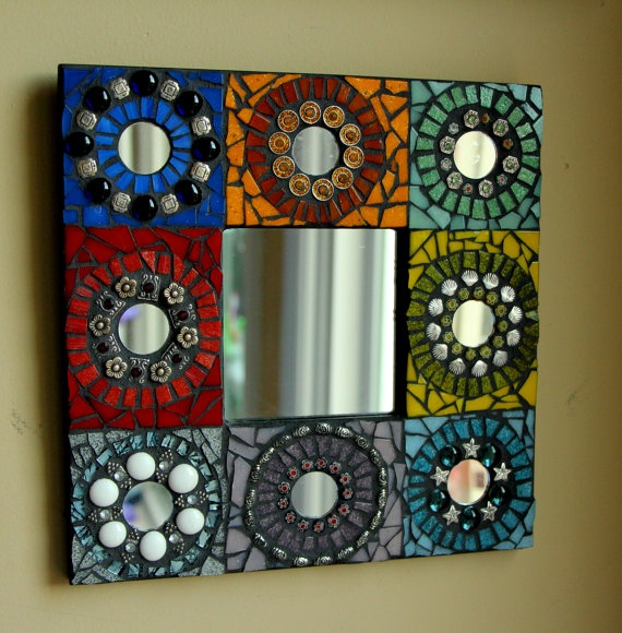 colorful mosaic mirror fine art wall hanging handmade by me