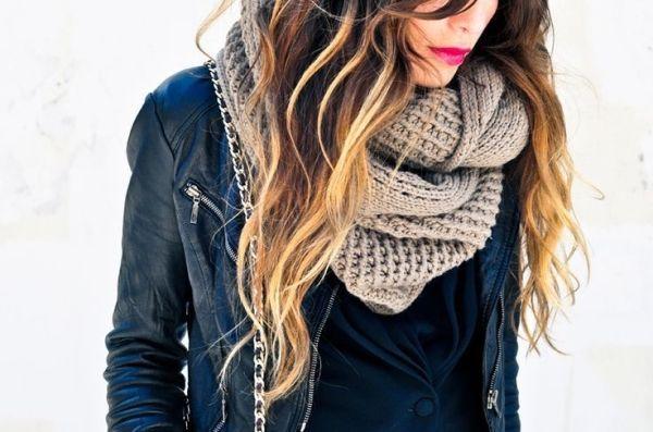 Chunky knit infinity scarves.