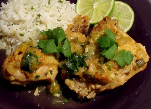 Braised Chicken withTomatillos and Jalapenos