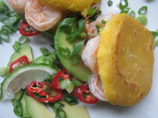 Shrimp Arepas from Serious Eats. http://punchfork.com/recipe/Shrimp ...