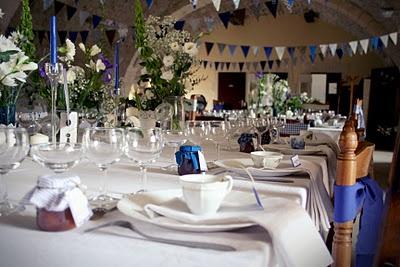 Mariage bleu fanion  LA décoration  Pinterest