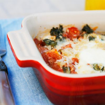 Baked Eggs with Roasted Garlic, Tomatoes and Basil - Sarah's Cucina ...