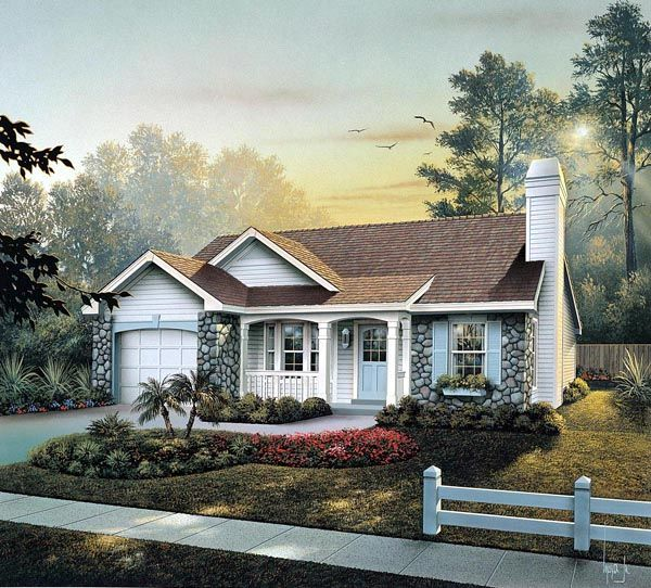 Cabin Cottage Country Ranch Traditional House Plan 86990