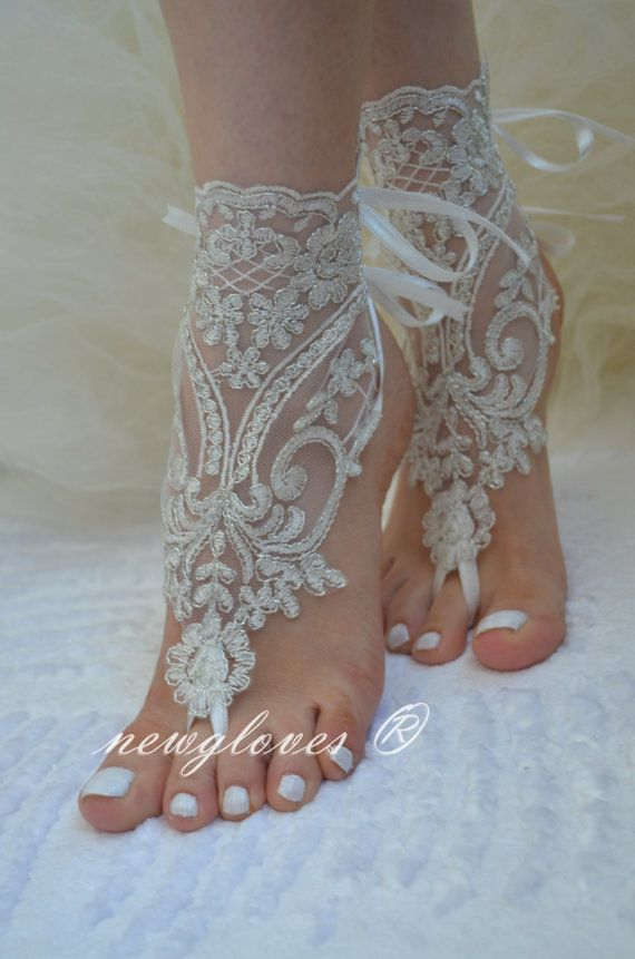 Ivory Beach Wedding Barefoot Sandals By Newgloves 2500