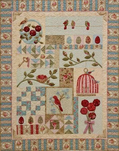 Primitive Folk Art Quilt Pattern - Bird Haven by A Graceful Stitch