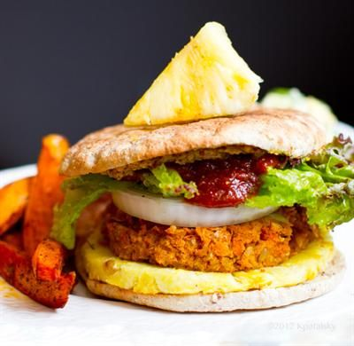 ... and Delicious Brown Rice Recipes: Pineapple Jerk Veggie Burgers