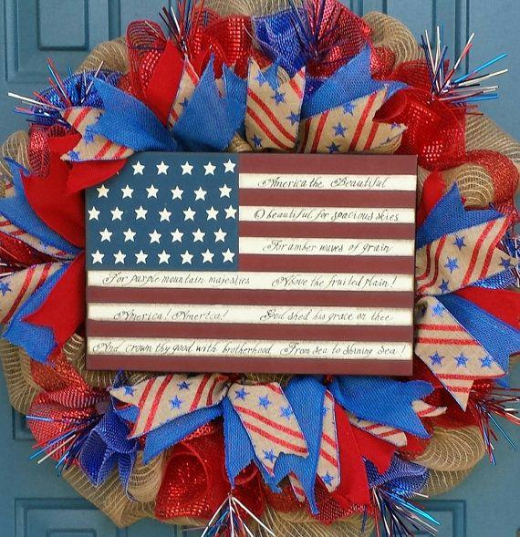 memorial day mesh wreath