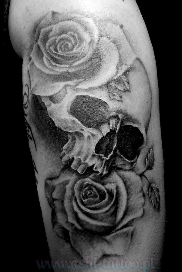 Skull and roses tattoo tattoos pinterest for Rose and skull tattoos