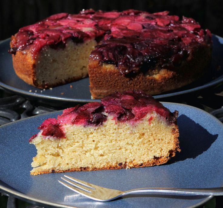 gluten free plum & blueberry upside down cake