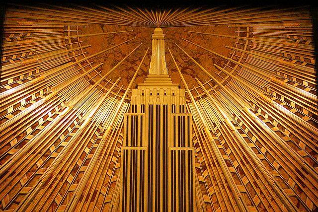 Empire state blg lobby art deco pinterest for Chrysler building lobby mural