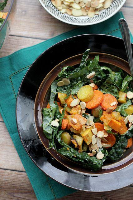 Miso-Harissa Roasted Carrot, Squash, and Two-Potato Salad | Recipe