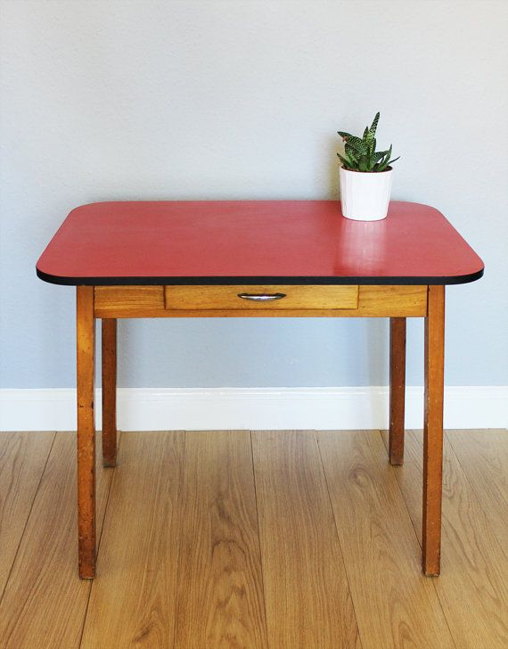 Vintage 1950s 1960s red formica top wooden kitchen table - Formica top kitchen tables ...
