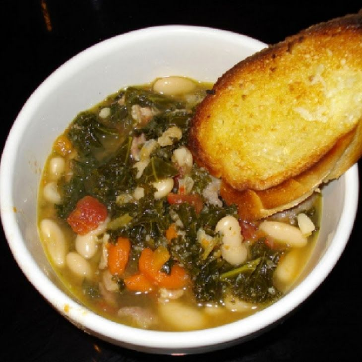 Cheese Tortellini Soup with Cannellini, Kielbasa, and Kale Recipe.