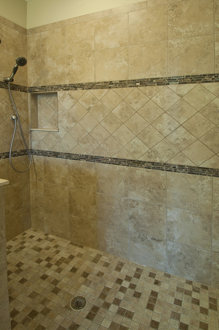 Tile design for master bath shower master bath pinterest for Master bathroom tile design ideas