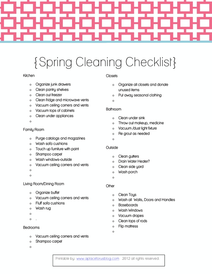 Spring cleaning pinterest spring cleaning checklist What month is spring cleaning