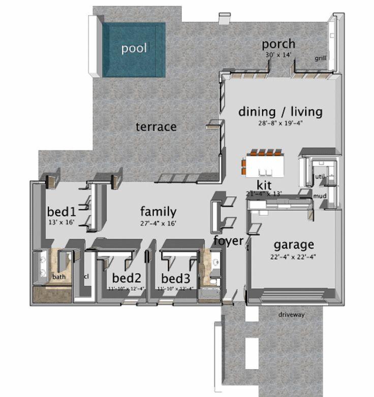 Cliff May Inspired Floor Plan Maison De R 234 Ve Pinterest