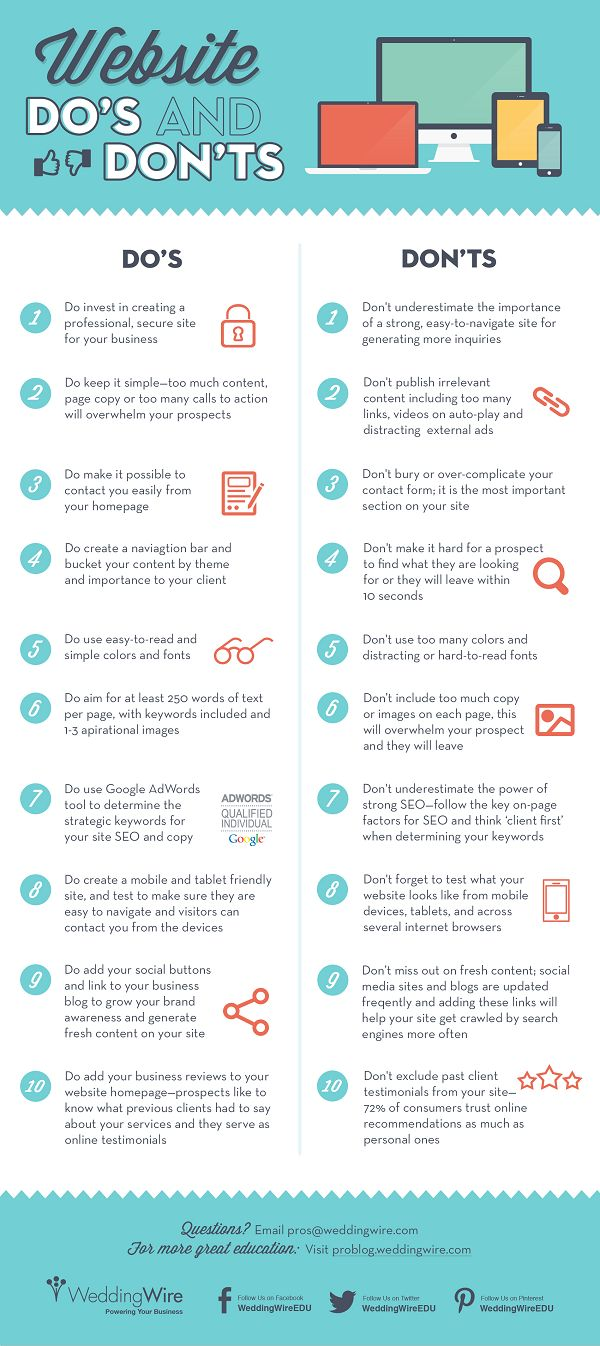 Are you doing these things with your website? ~20 website dos and don'ts www.socialmediamamma.com #Business #infographic