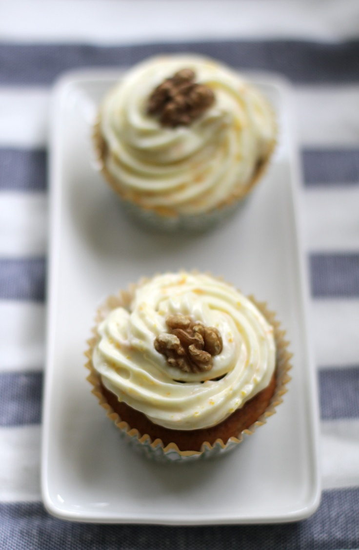 Carrot cake cupcakes with mascarpone cream cheese frosting :)