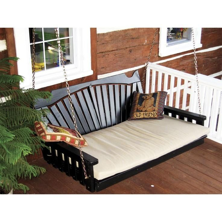 ... porch swing bed. Perfection!! Amish Made Pine Wood 5 Fan Back Swing
