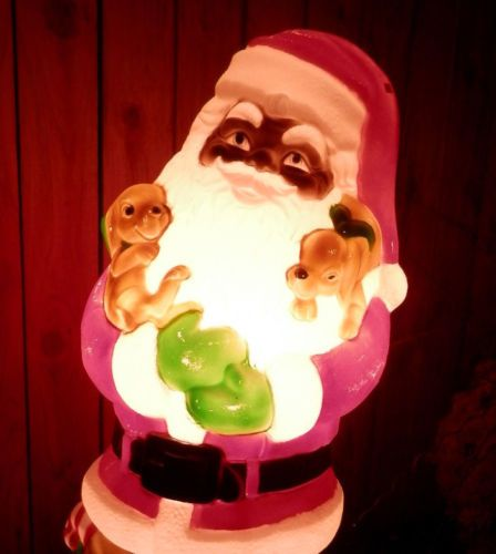 Rare african american black santa blow mold christmas for American christmas decorations