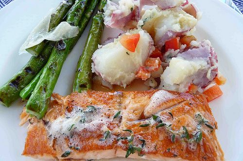 Salmon with Brown Butter & Thyme Sauce from Cookin' Canuck http://www...